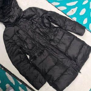 Long moncler jacket size xs black puffer jacket